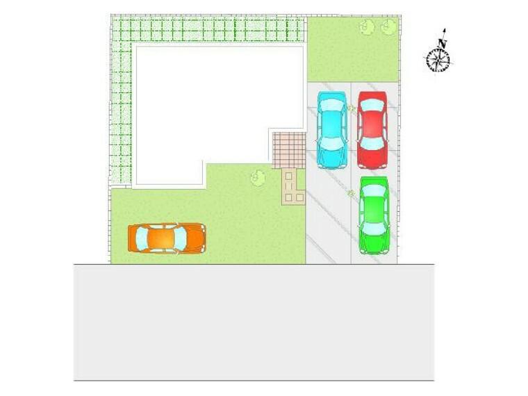 区画図 B号棟:配置図・・・4台駐車可!前面道路も6mなので駐車もらくらくです。