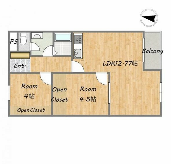 間取り図 【間取画像】洋室二部屋の2LDKです。洋室は二部屋とも建具を入れないオープンクローゼットなので、部屋を広く使うことができるのが特長です。