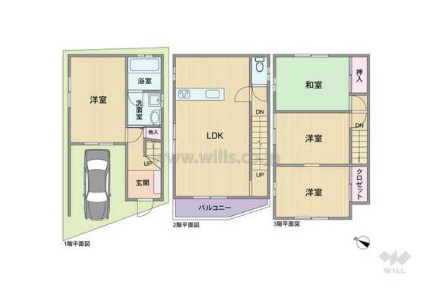 間取り図 間取り図。建物面積80.5平米の4LDKです。駐車スペースから1階の洋室に荷物が搬入できるため便利です。