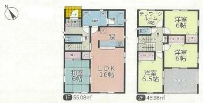 間取り図 玄関入って直ぐに、洗面所があり衛生的です!各居室6帖以上でクローゼットがあり、部屋を広く使えます(*^^*)