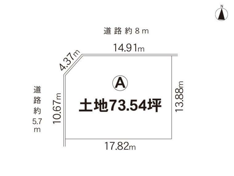 土地図面 73.54坪です