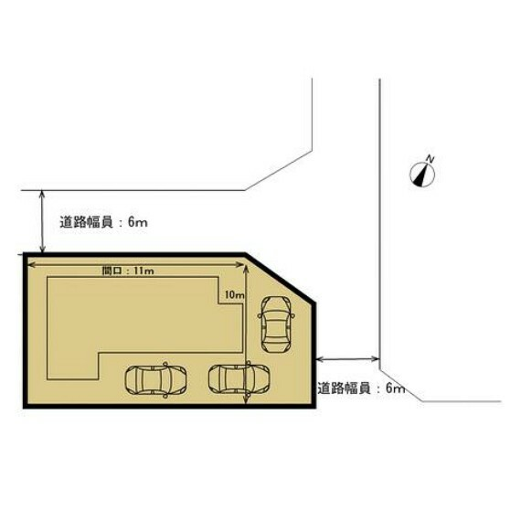 区画図 敷地図です。普通車三台駐車可能です。現在は玄関前にお庭がございますが解体して横付けの駐車スペースに変更いたします。