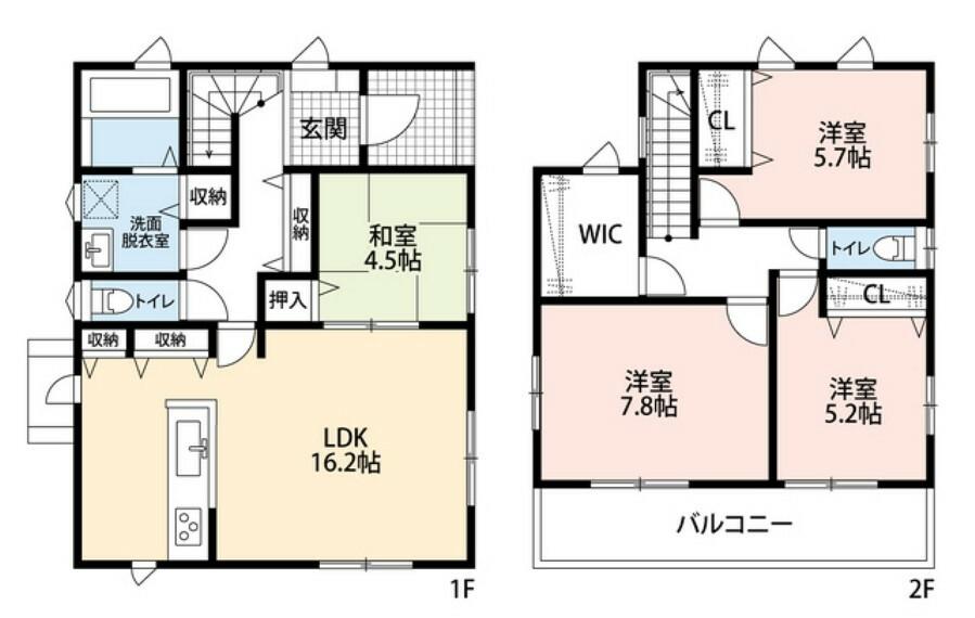 間取り図 勝手口や収納がついた使いやすいカウンターキッチン^^2階には大型のウォークインクローゼットがついています^^