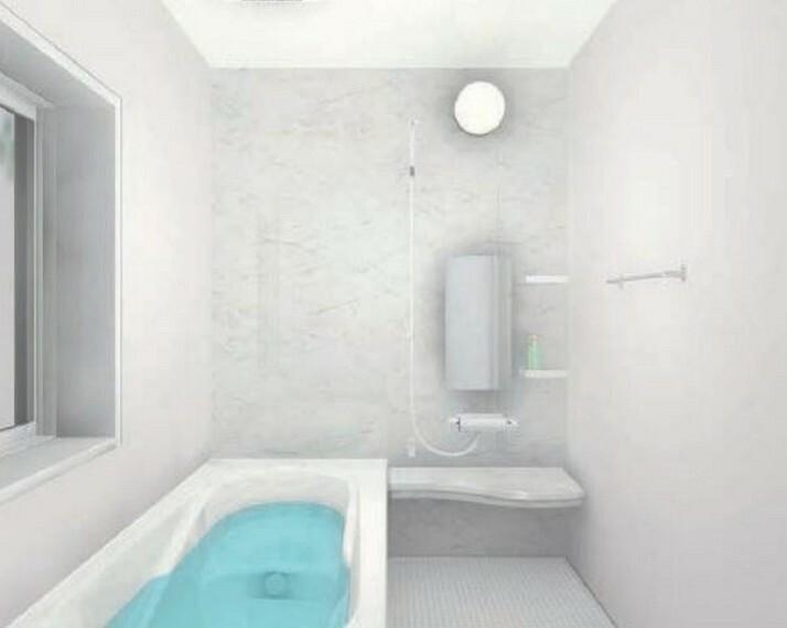 浴室 「完成予想図」1日の疲れを癒すくつろぎのバスルーム^^足を伸ばしてもゆったりと入れるサイズです^^お湯はりもボタンひとつでらくらくです(^^)/