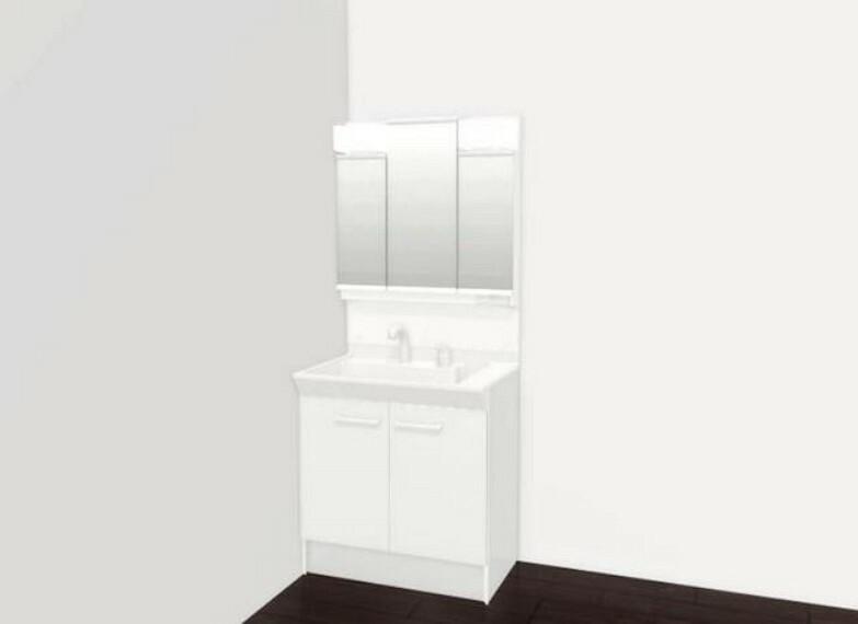 洗面化粧台 「完成予想図」収納が隠れて使いやすい、シャワー付き三面鏡洗面ドレッサーです^^化粧品などもすっきり整理整頓できますよ^^