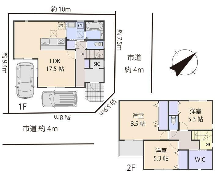 間取り図 居室3部屋の3LDKです。北東側と南東側4m道路に面しているため陽当り良好です。