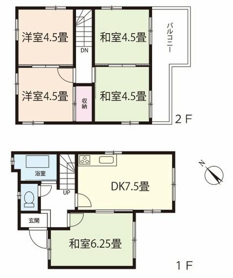 間取り図 5DK。建物面積66.57平米(20.13坪)。現在家賃6万円(月額)にて賃貸中。年間家賃収入72万円。