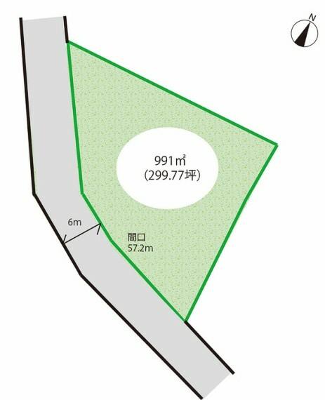 区画図 土地面積991平米(299.77坪)。現況更地(月極駐車場)。建築条件なし。