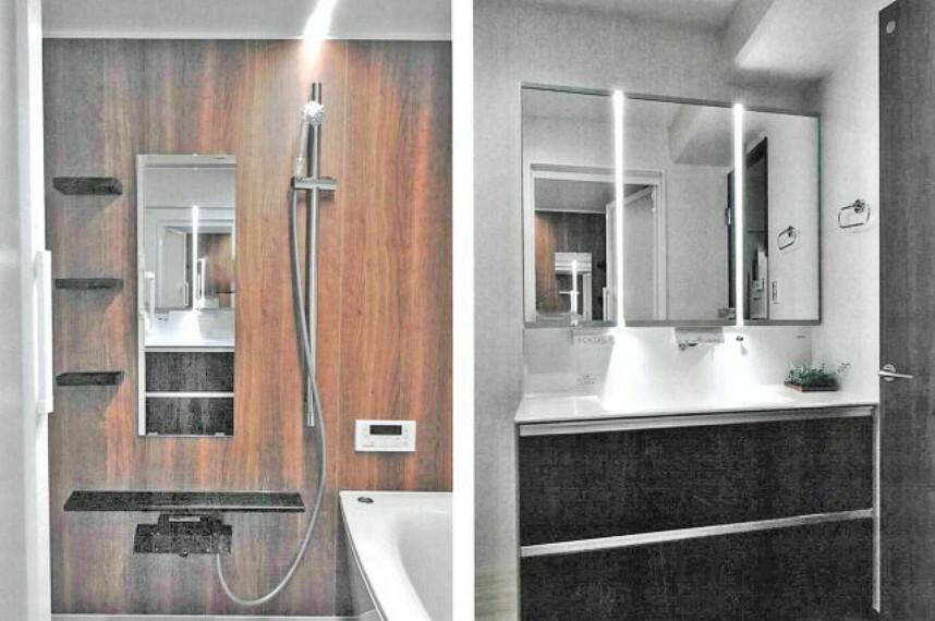 洗面化粧台 LED洗面化粧台と低床ユニットバス・ミラブルマイクロバブルシャワー。 リノベーションした水回り設備には最新の10年保証付き。