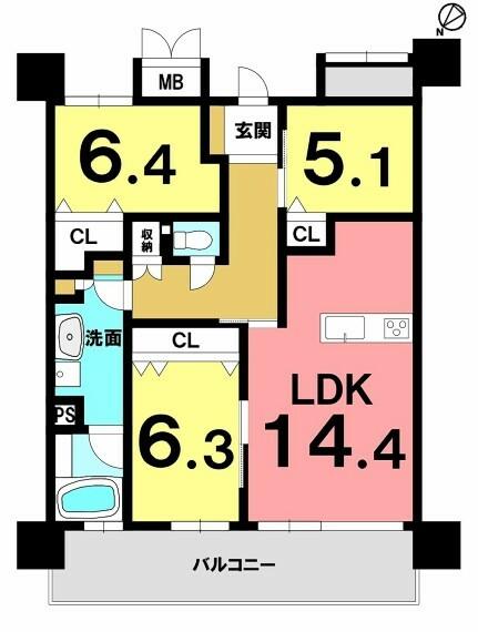 間取り図 内覧可能!2011年築!オーシャンビュー!9階建2階部分・3LDK・IHクッキングヒーター・浴室に窓有!