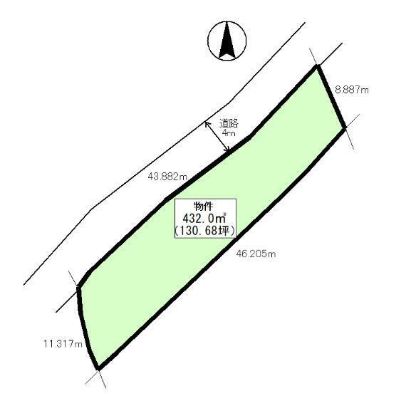 土地図面 公簿:432平米(130.68坪)