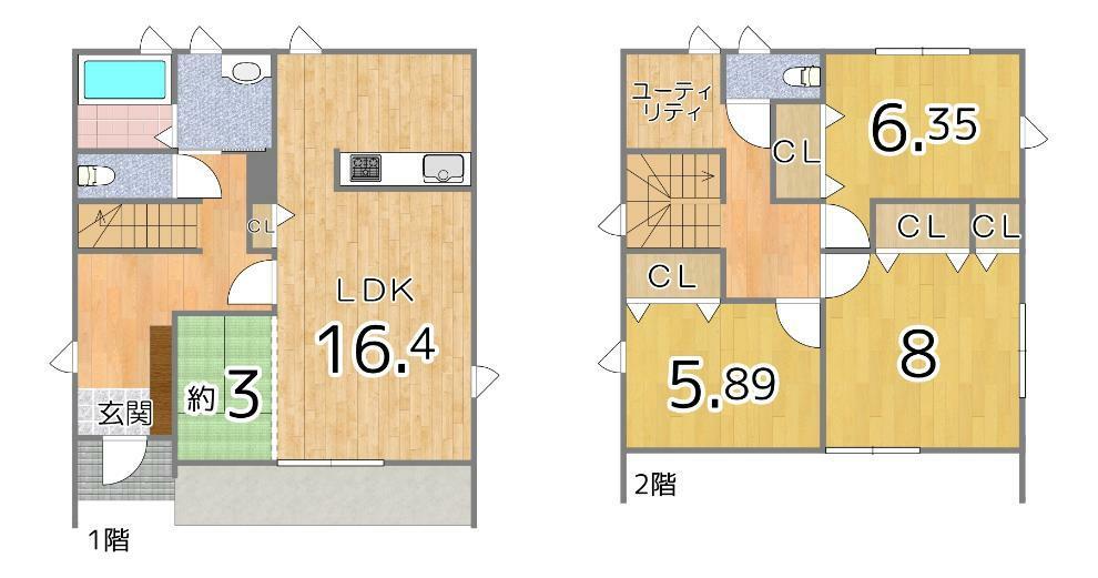 間取り図 2階にはリモートワークや書斎としても使えるユーティリティルームがあります!