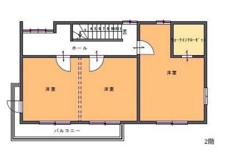 間取り図 2階間取。L字のバルコニーで開放感もございます。