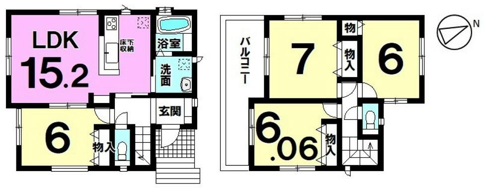 間取り図 【4LDK】全居室2面採光!爽やかな風が舞い込む心地よい住まい