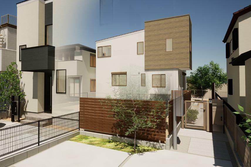 完成予想図(外観) 2号棟「吹き抜けリビングの家」