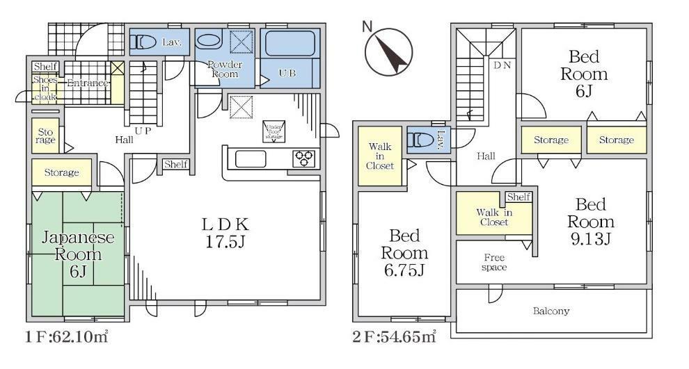 間取り図 【1号棟間取り図】4LDK+2WIC+SIC 建物面積116.75平米(35.31坪)