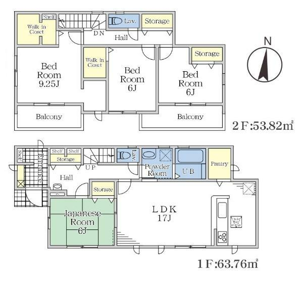 間取り図 【1号棟間取り図】4LDK+2WIC+SIC 建物面積117.58平米(35.56坪)