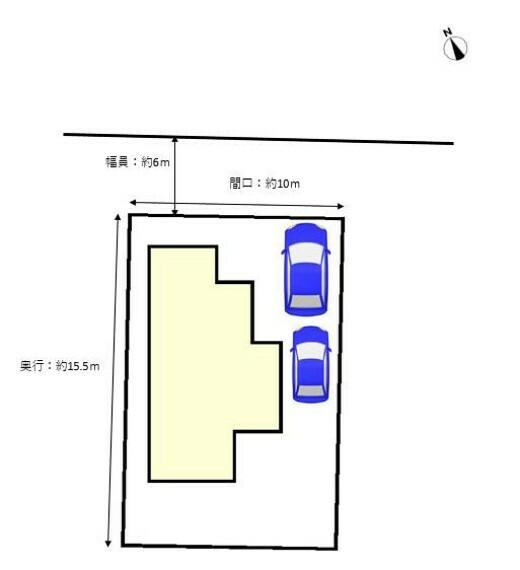 区画図 リフォーム中 敷地図です。 駐車は縦列2台分。北側の接道は幅員約6mで、交通量も少ないので駐車はラクに行えますよ。