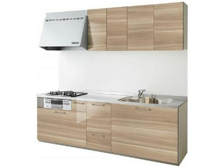 キッチン 同仕様写真 リフォーム中 キッチン  キッチンは永大産業製のシステムキッチンに新品交換します。 収納は引き出し式で、大きなお鍋やフライパンもすっきり片付きます。