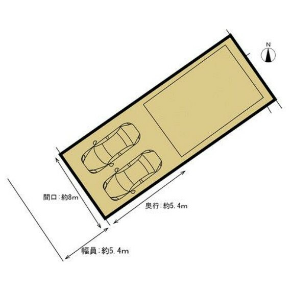 区画図 敷地図です。駐車場は拡張し、土間コンクリート打設を行い、駐車2台が余裕を持って可能になります(幅約7.5m、奥行約8m)。土間打ちなので、草刈りの心配もなく管理ラクラクですね。