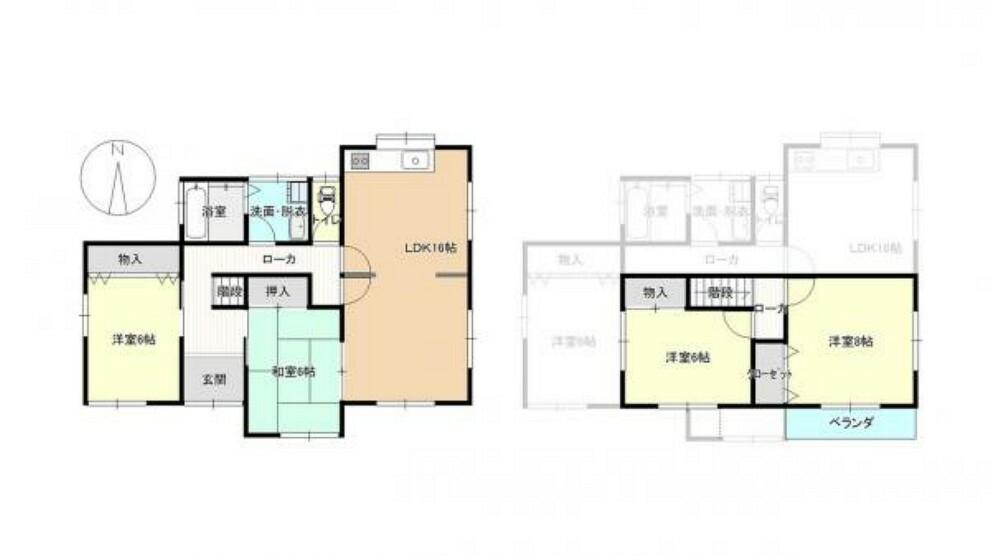 間取り図 【リフォーム済】1階に2部屋ある4LDKです。1階に部屋が多いとお年寄りや小さいお子様のいるお家でも安心ですね。
