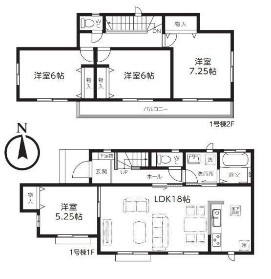 間取り図 【1号棟間取り図】4LDK 建物面積99.78平米(30.18坪)
