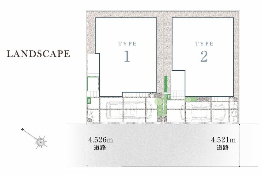 区画図 Landscape  日当たりを考えた2棟の配棟計画