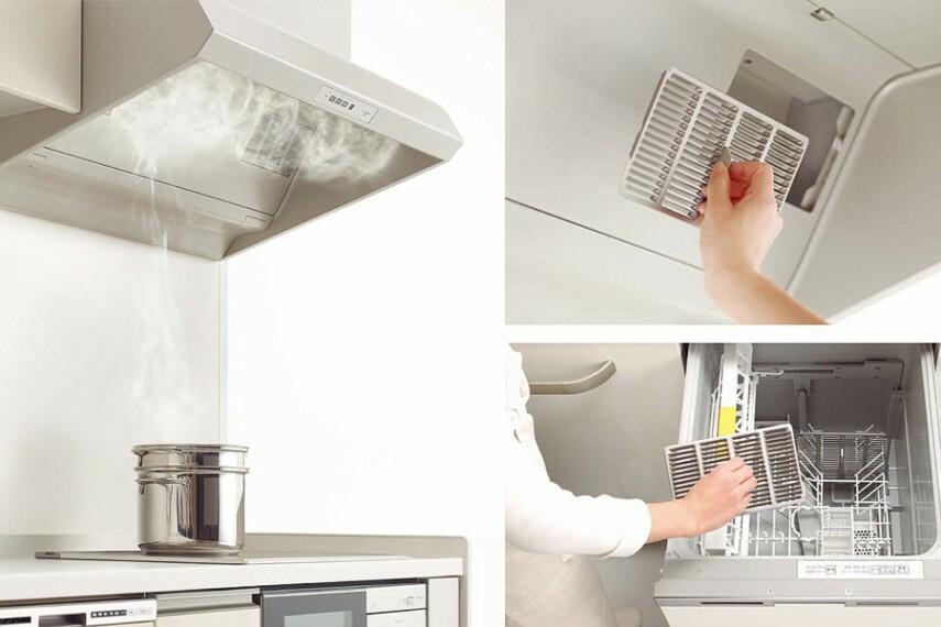 トクラスキッチンBb~サイクロンフード~   煙をしっかりキープする「サイクロンフードIII」は、内部への油汚れの流入を抑え、小型フィルターなのでお手入れ簡単、食洗機でもOK!