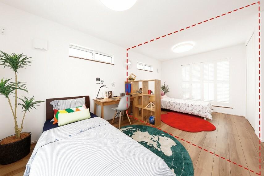 フレキシブルプラン  壁の追加や削除をして部屋数を変更できるフレキシブルプラン。変化するライフスタイルに合わせて活用できます。