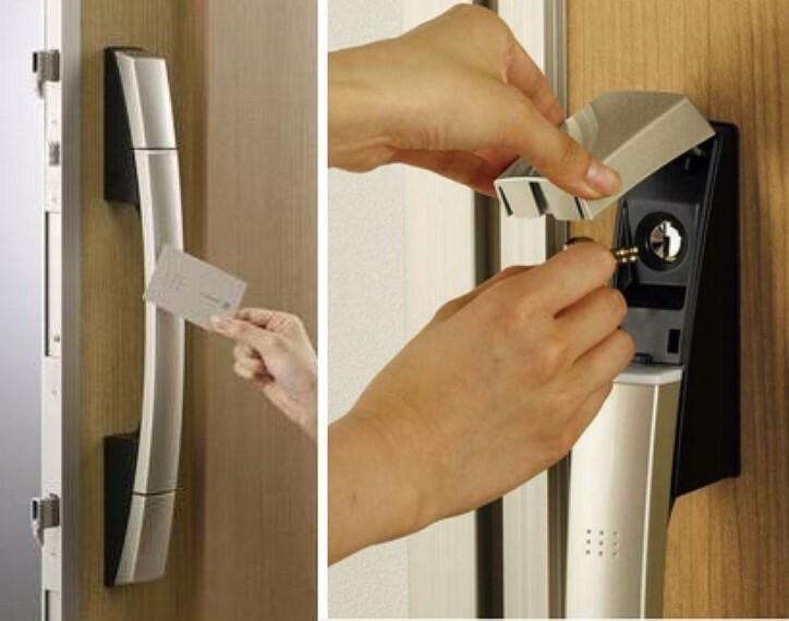 玄関ドアハンドルにカードキー・シールキーを近づけるだけで確実にロック室内からはサムターンを回すだけで施錠が可能1つのカギが不正に開けられた場合再ロックされるピッキング防止機能も備わります