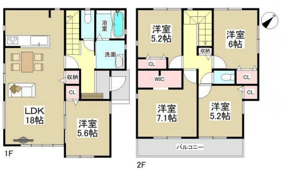 間取り図 ●2号棟間取図● (※間取り内の家具等のレイアウトはイメージ図です。)