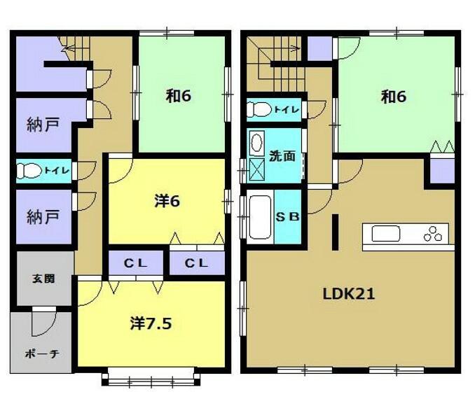間取り図 【リフォーム後間取】これからリフォームして4LDKの間取りになります。トイレが2階三階と2つあります。
