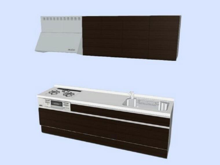 キッチン 【同仕様写真】キッチンにはハウステック社製の新品システムキッチンを設置します。収納スペースは大容量です。三口コンロでお料理もはかどります。ホーロートップなので耐久性に優れお掃除もラクラクです。