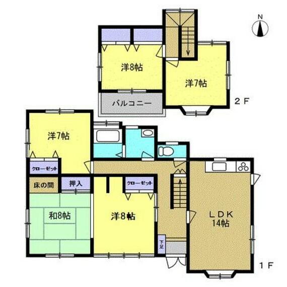 間取り図 【リフォーム後間取り】5LDKのお家です。現在1階の和室は3部屋ありますが2部屋を洋室にリフォーム致します。部屋数が多いので、お子様にもお部屋をプレゼントすることもできますね。