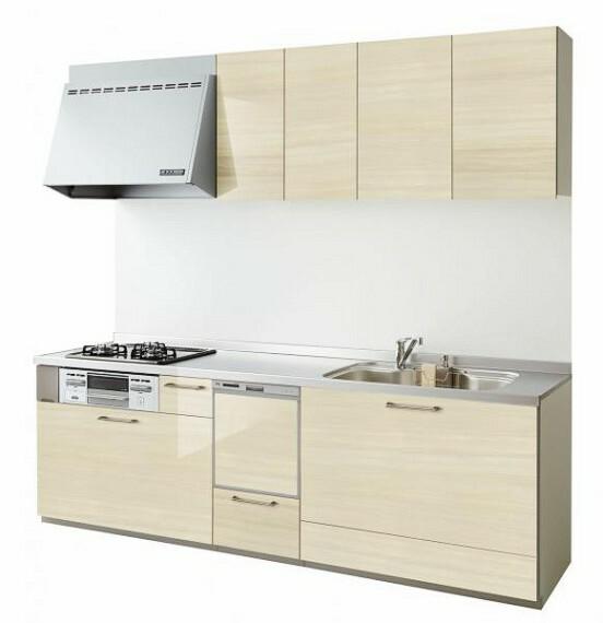 【同仕様写真】キッチンは永大産業のシステムキッチンに交換します。シンク、天板は人造大理石製なので、熱に強く傷つきにくいため毎日のお手入れが簡単です。食洗器付きになりますので奥様も安心便利ですね。物件によって仕様や配色が異なる場合があります。