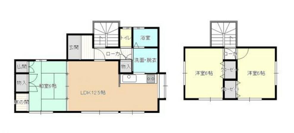 間取り図 【リフォーム後間取図】3LDKにリフォームを行っていきます。1階和室と2階の洋室には収納スペースもありますので便利だと思います。