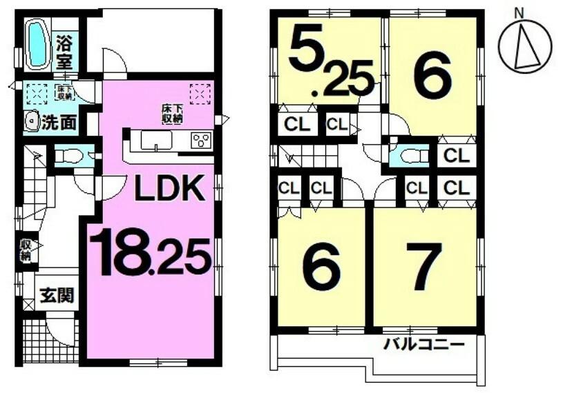 間取り図 【LDK18.25帖ゆとりの空間】 4LDKでお子様憧れの一人部屋も実現