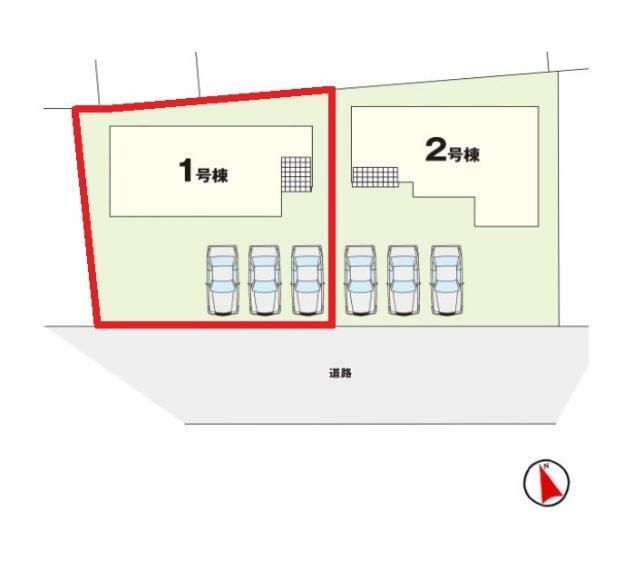 区画図 【1号棟区画図】土地面積約202.00平米(61.10坪)