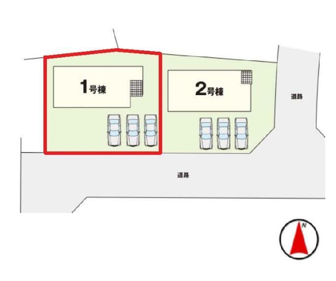 区画図 【1号棟区画図】土地面積222.05平米(67.17坪)