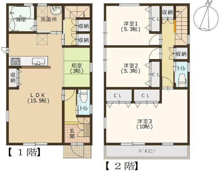 参考プラン間取り図 1号地 建築参考プラン例