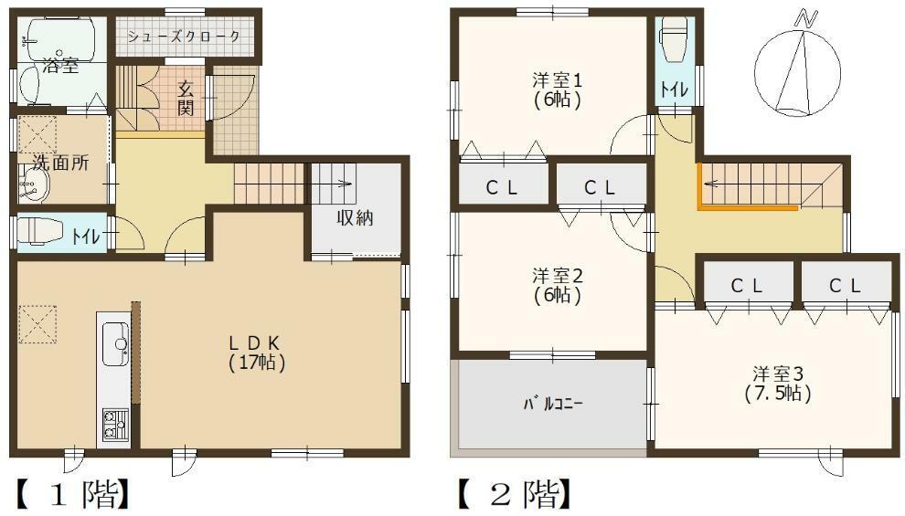 参考プラン間取り図 2号地 建築参考プラン例