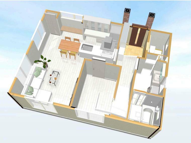 間取り図 【1階俯瞰イメージパース】 リビングを通らずに、玄関から洗面室へ行けるので、おうちに汚れを持ち込まない!1階洋室は収納があり、子どものプレイスペースや来客用の客室としてなど、便利に利用できます。