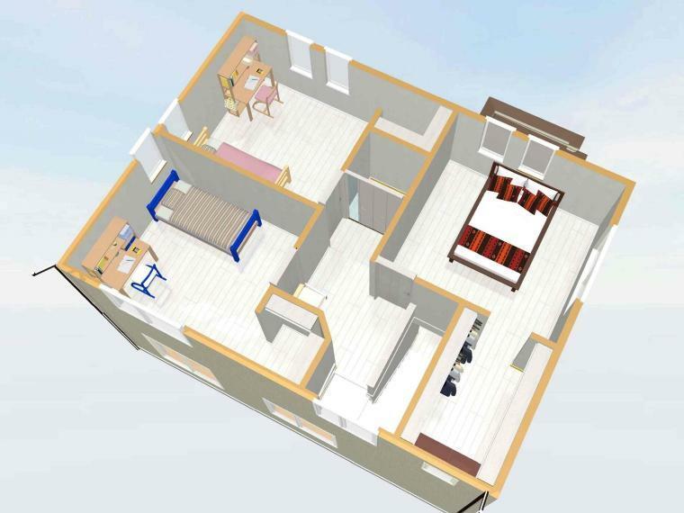 間取り図 【2階俯瞰イメージパース】 各居室ウォークインクローゼット付き!2階ホールにはファミリークロークがあり、収納スペースがたっぷりあります。