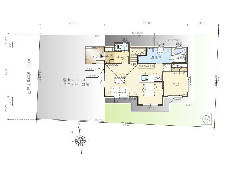 間取り図 【配置図】駐車スペースは3台分あります。庭スペースもあります!