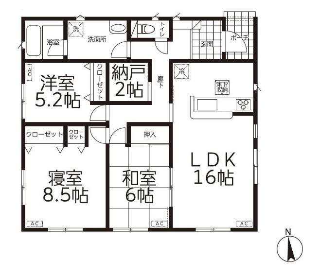 間取り図 【1号棟間取り図】3SLDK 建物面積86.67平米(26.26坪)