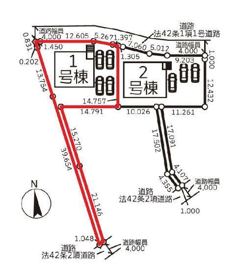 区画図 【1号棟区画図】土地面積341.35平米(103.25坪)
