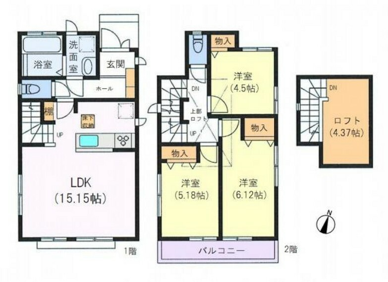 間取り図 ■建物面積:76.17平米の2階建て3LDK+ロフト付き