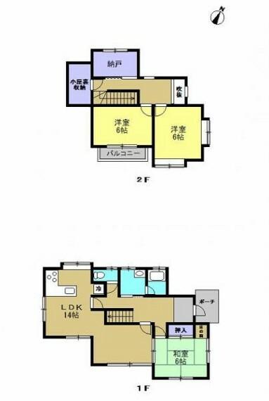 間取り図 【リフォーム済】 間取りは3LDKの二階建てです。 1階に和室1部屋、LDK、2階は洋室2部屋となっております。