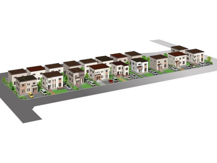 参考プラン完成予想図 タウン完成予想パース。明るい外壁とシアトル産レンガがアクセントの外観が建ち並びます。