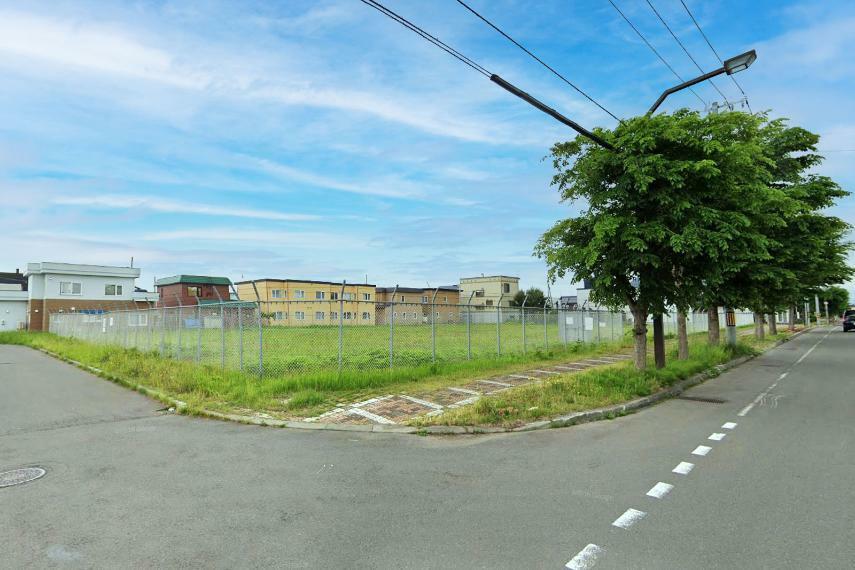 現況写真 18m道路は樹木が並ぶキレイな歩道付き道路です。※造成前の現地